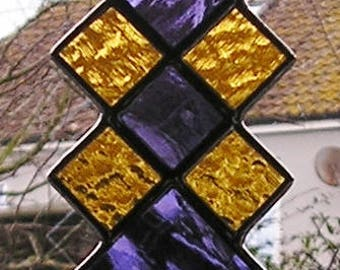 Purple and Gold Stained Glass Abstract/Geometric Suncatcher, Handmade in England