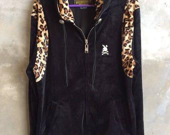 Mastermind Japan X Neighborhood Velved Zipper Hood Jacket Leopard Striped Size XL