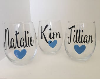 Set of 3 or 4 Personalized Bridesmaid Wine glasses   Personalized Name Wine Glass   Bridesmaid Gift   Maid of Honor Gift   Wedding Gifts