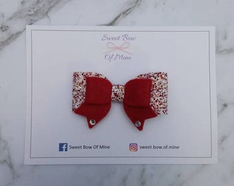 Medium Double Bow Red Hairclip | Wool Felt & Glitter | Girls Hairclip, Toddler Clip