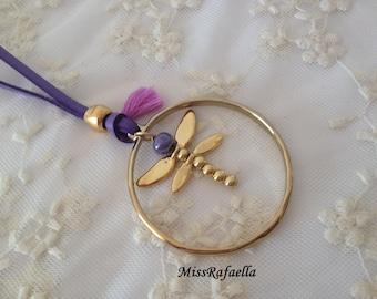 Zamak Golden Dragonfly Necklace.