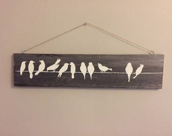 Bird on a branch ~ wood ~ hand painted