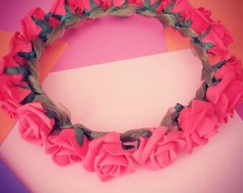 Foam and Ribbon Rose Crown