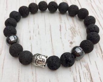 Mens lava beaded Buddha bracelet