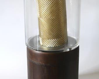 Large Wood and Glass Candle Memorabilia Holder w/Candle Keepsake Cremation Urn