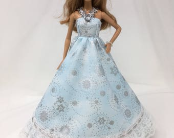 "Snowflake Doll Dress-11.5"" Doll Clothes-Winter Party Dress-Snowflake Dress-Party Dress-Sparkly Doll Dress-Girls Birthday Gifts-Toys"