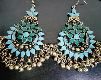 Baby blue and green Enamel Silver oxidised long chandelier chandbalis party festive wear
