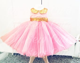 12 layered Tutu tulle pink peterpan collar gold sequin sash with a bow princess ballgown bridesmaid special event girls dress fully lined