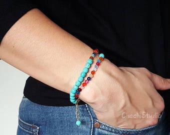 Gemstone Bracelet, Turquoise Bracelet, Stacking Bracelet, Bridesmaid Gifts, Beaded Bracelet, Boho Bracelet, Gemstone Bracelet, Wrap Bracelet