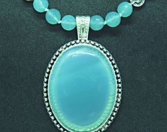 Chalcedony Pendant and Necklace beautiful minty blue