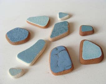 Set of 9 sea pottery,Italian Genuine Beach Pottery, Mosaic Pieces, Sea Pottery, Beach Finds, Craft Supplies.