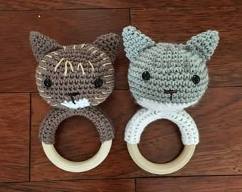 Cat crocheted Baby Rattle