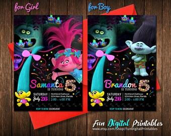 Trolls Birthday Invitation, Trolls Invitation, Trolls Party Invitation, Troll Invites, Trolls Birthday Party, Trolls Poppy Party