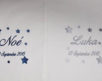 For twins or brother / sister: 2 slings christening baby custom embroidered soft grey stars boy or girl