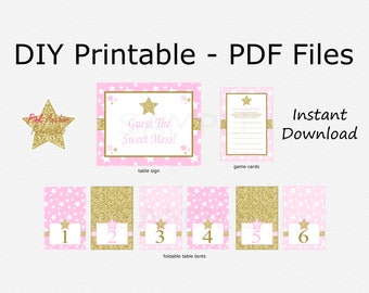 Guess The Sweet Mess Baby Shower Game - Twinkle Twinkle Little Star - Pink & Gold Glitter - Girl - PRINTABLE - INSTANT DOWNLOAD