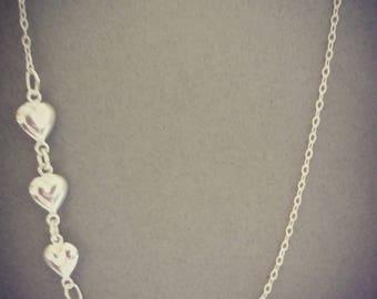 off set trio of hearts sterling silver necklace