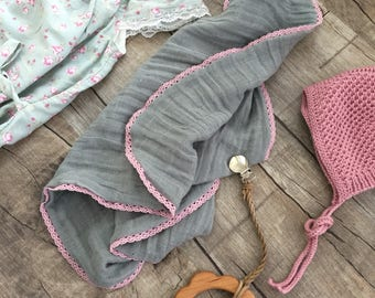 Muslin lovey /security blanket or burpcloth with Mauve lace trim/personalized lovey / monogrammed lovey/Swaddle