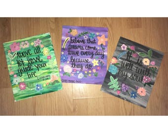 Hand Painted Quote Canvas