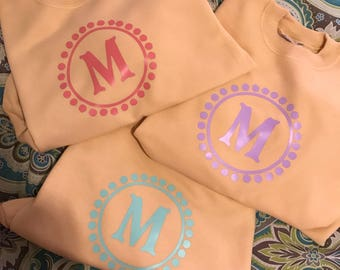 CLOSEOUT SALE!!! Girls Monogram Sweatshirt-NewCOLORS!
