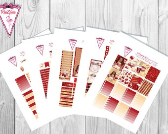 Movie Night (chocolate skin tone) - Printable Erin Condren Weekly Kit w/Cut Line