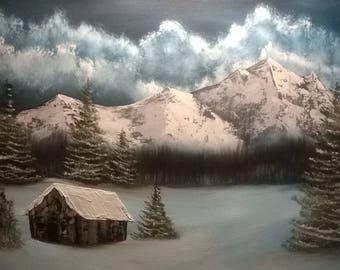 16x20 original snow landscape oil painting