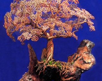 Custom Made Housewarming Wire Tree of Life Sculpture for Art & Collectibles Home Decor Copper Metal Trees Handmade Sculptures
