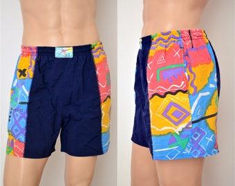 vintage Beach / Surf SHORTS 'La Cabana' / mens size XL / 80s 90s neon