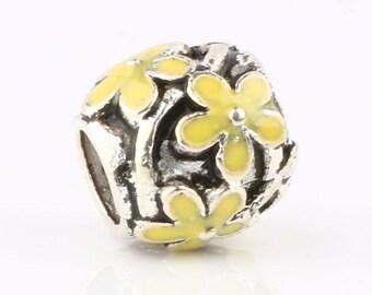 2 pcs, Silver Yellow Flower Enamel Charm Pendant Spacer Beads, Flower Enamel Spacer Beads, USA Seller,