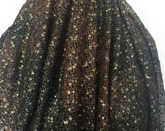 Italian Gold Metallic Bronze and Black Knit - Sold by the Yard