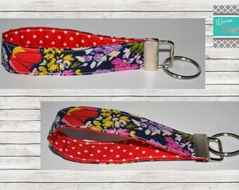Floral/ Navy/Red, Keychain, Key Fob, Wristlet Keychain, Wristlet Key Fob