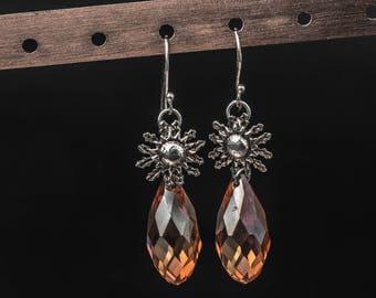 Sun goddess 925 sterling silver swarovski crystals earrings