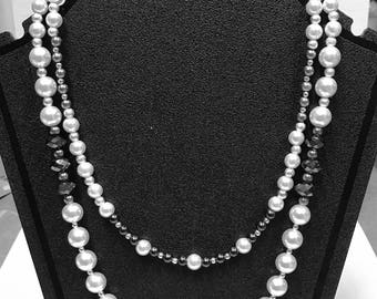 Smokey Black and White Pearl Double Strand Necklace