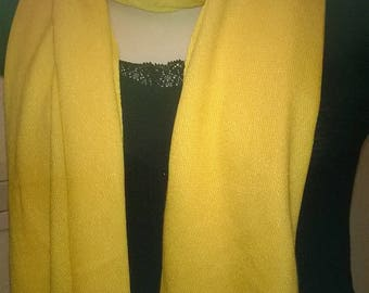 Cotton and elastane yellow scarf