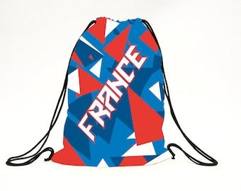 Custom made sports drawstring bag/Personalized bag/Sports backpack/Gym bag/Shoe bag/Patriotic style bag/France/France sac