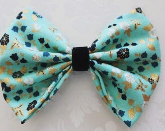 Teal, Gold, Black Floral Fabric Hair Bow with Black Velvet Middle. Baby Girl Hair Bow. Toddler Girl Hair Bow. Nylon Band. Alligator Clip