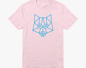 Organic light pink logo T-shirt with baby blue print on the front. Minimal and geometric design.