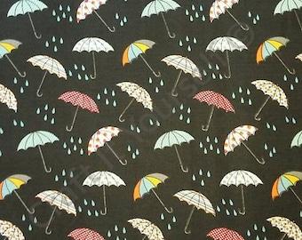 Umbrella's 100% cotton fabric 44 inch / 110cm rain black