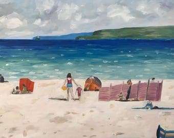 Oil landscape painting of a beach scene in St Ives; seascape, wall art, original, gift