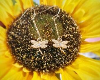 Gold Dragon Fly Earrings