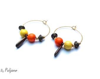Hoop earrings golden orange, yellow and bronze ♦ beads earrings