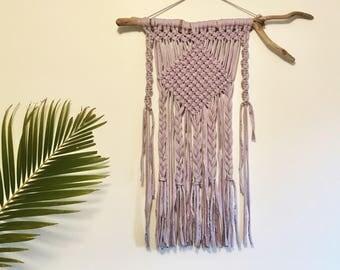 Handmade Macrame Wall Hanging//Cotton Jersey//Boho//Gypsy//Lilac//Driftwood//Wall art//Home decor