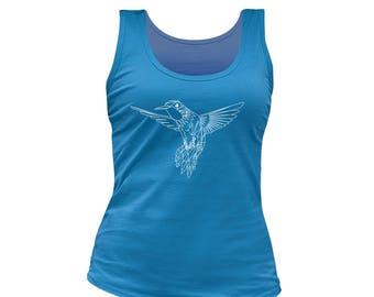 Woman blue peace racer back tank top