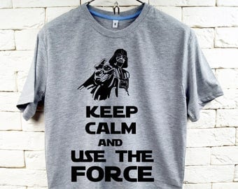 Keep Calm and Use The Force Star-Wars Darth Vader Gray T-Shirt For Men
