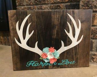 Personalized Deer Antler Name Board