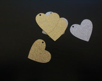 """15 Glitter Hearts Cut Outs Hanging tags Card Stock 2"""""""