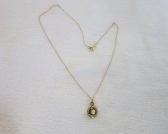 """Vintage Gold Filled & Real Pearl Flower Pendant with 15"""" gold tone Chain Necklace"""