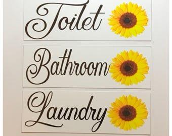 Toilet Bathroom U0026 Laundry Door Room Sign Set Of 3 Sunflower Flower Bright  Happy Hippy Design