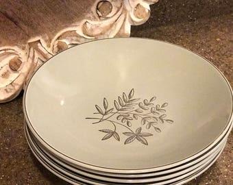 Vintage Grey Soup / Salad Bowls Silver Multi Leaf Design - Set of 5 Dinnerware