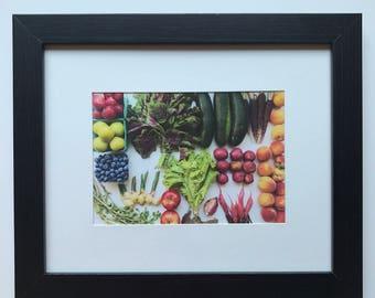 FOOD PHOTOGRAPHY PRINT - farmers market produce art - kitchen art - fine art print - summer harvest - plums - greens - peaches - ginger
