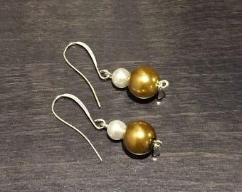 Gold and white pearl simple dangle earrings
